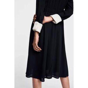 Zara Basic Pearl Button Up Tweed Collar Dress Sz S